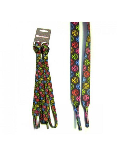 Шнурки SCULL/СКАЛЛ темно-серые с разноцветным узором 90 cm 4272