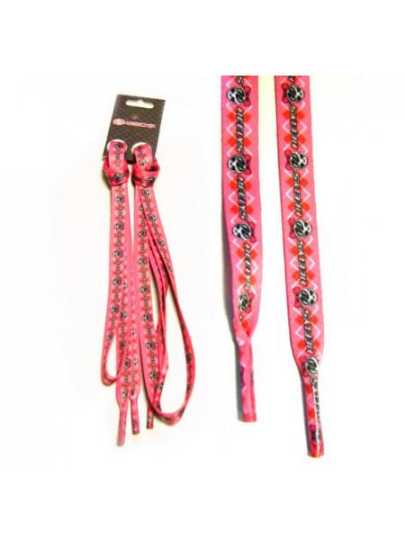 Шнурки SCULL/СКАЛЛ розовые с серым рисунком/логотипом  4274