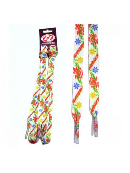 Шнурки Flowers/Флауэз белые с разноцветными цветами 90 cm 4276