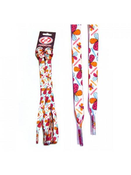 Шнурки Flowers/Флауэз белые с разноцветными цветами 90 cm 4277
