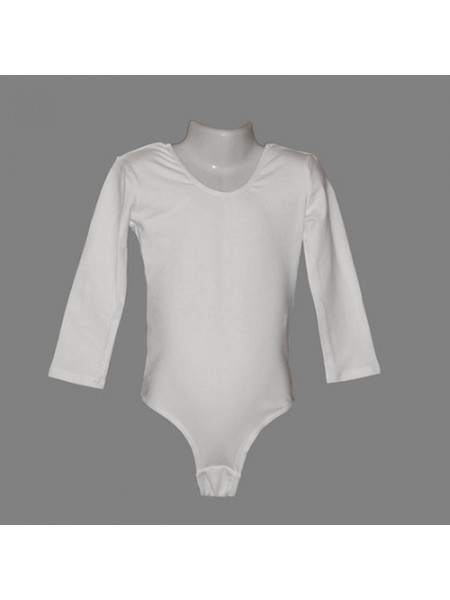 КРБ26 Купальник для х/гимнастики, р-р26, белый, 90%х/б+лайкра, с длинным рукавом, пр-во России