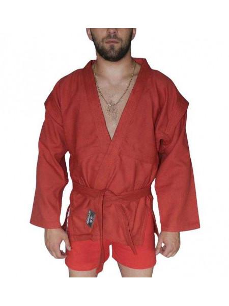 Куртка для самбо ёлочка без подкладки, красное, плотность 500 гр/м2, AX5,