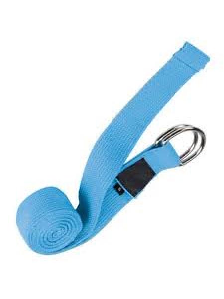 YL9006 Ремень для йоги TORRES, размер 183х3,8 см, хлопок, метал. пряжка, голубой